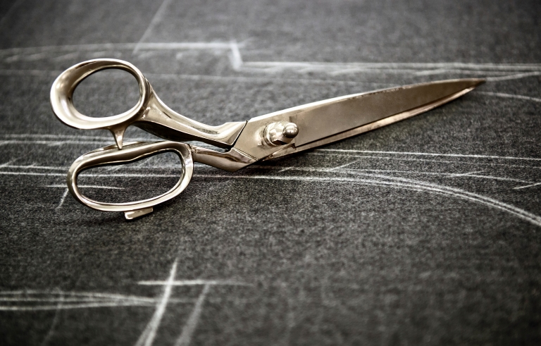 Tailors scissors on fabric